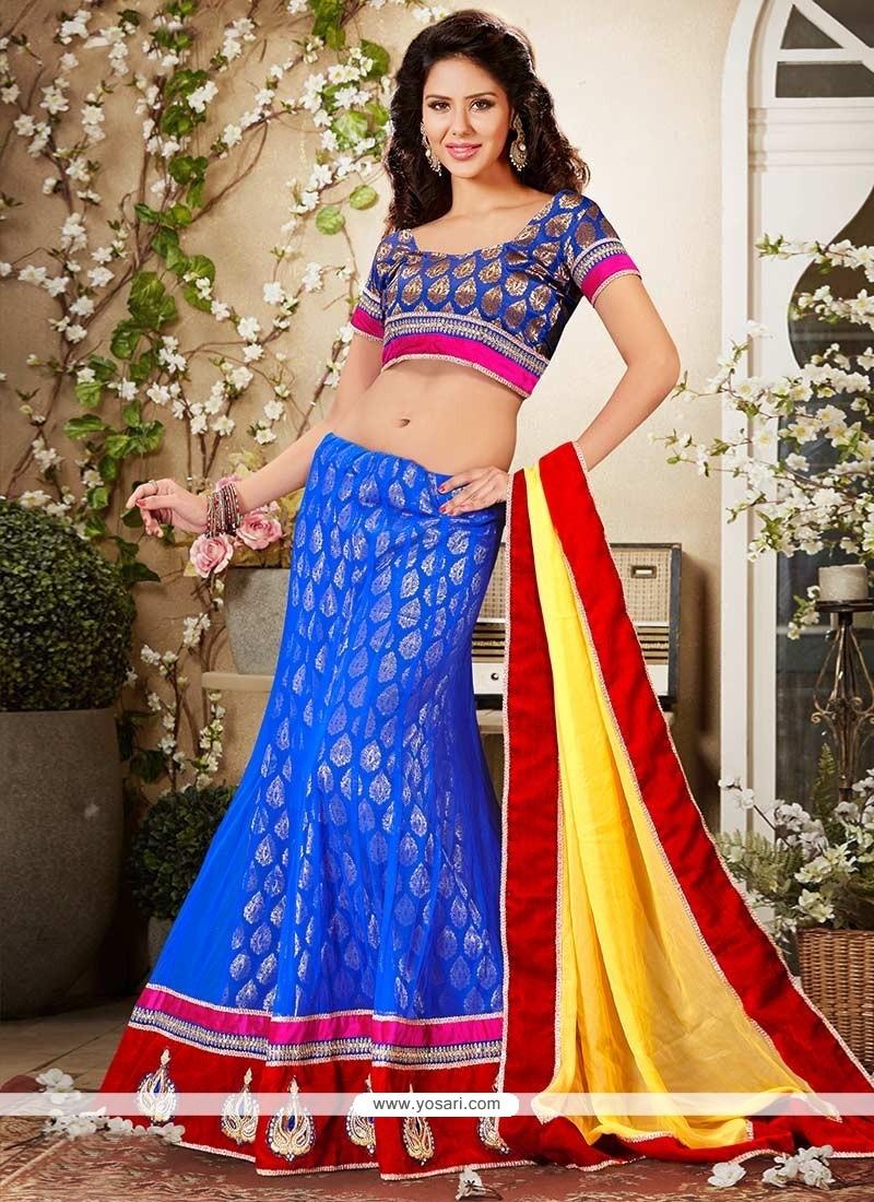Glorious Blue Net Lehenga Choli