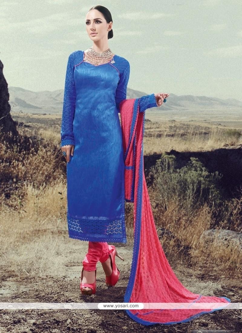Lovely Silk Designer Straight Salwar Suit