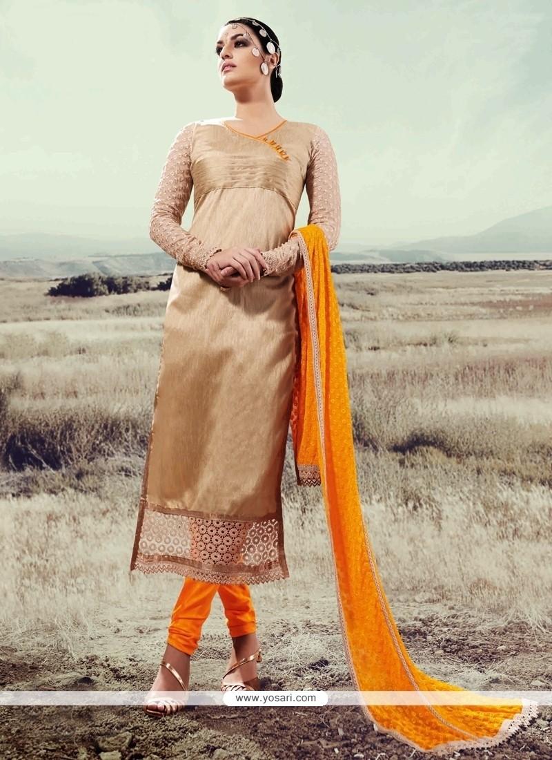 Observable Beige Designer Straight Salwar Suit