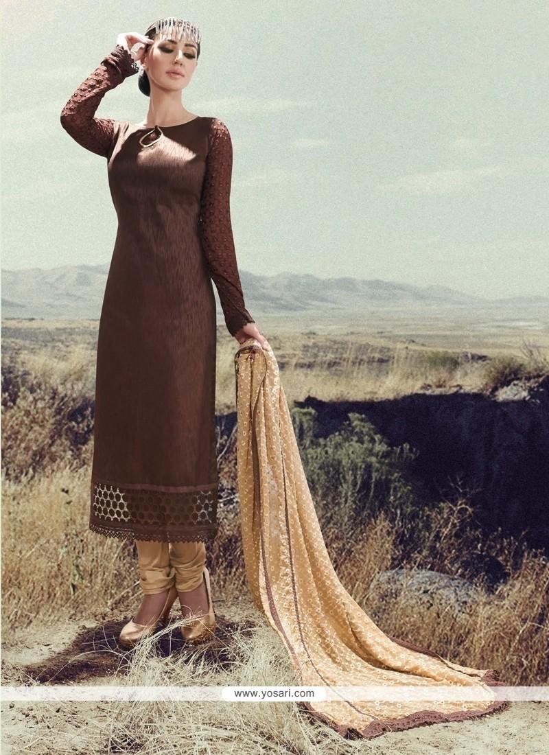 Energetic Silk Brown Designer Straight Suit