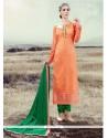 Groovy Orange Silk Designer Straight Salwar Suit