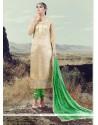 Deserving Lace Work Silk Beige Designer Straight Salwar Kameez