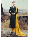 Engrossing Silk Lace Work Designer Straight Salwar Kameez