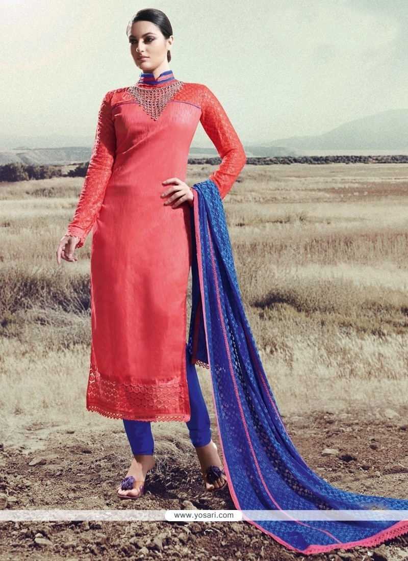 Engrossing Lace Work Silk Hot Pink Designer Straight Salwar Kameez