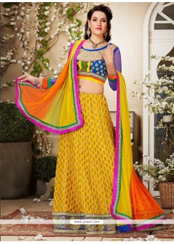 Latest Mustard Resham Work Lehenga Choli