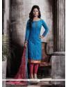 Integral Chanderi Blue Designer Straight Salwar Suit