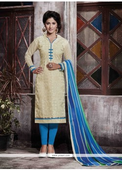 Modern Cream Designer Straight Salwar Kameez
