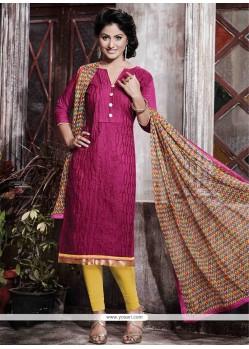 Elegant Print Work Hot Pink Designer Straight Salwar Kameez