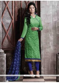 Subtle Lace Work Chanderi Green Designer Straight Salwar Suit