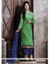 Subtle Lace Work Chanderi Green Designer Straight Salwar Suit