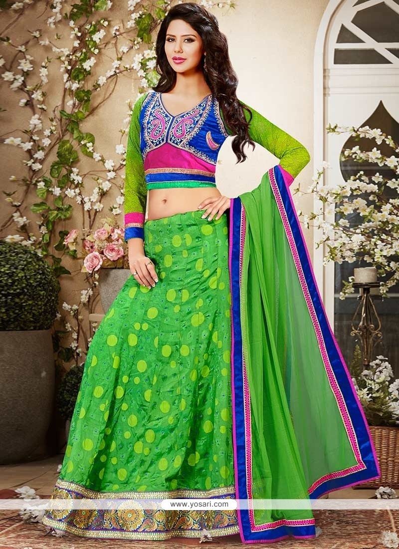 Attractive Green Viscose Lehenga Choli
