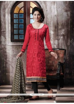 Gratifying Print Work Red Designer Straight Salwar Kameez