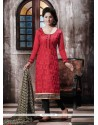 Gratifying Print Work Red Designer Straight Salwar Kameez