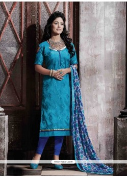 Conspicuous Chanderi Blue Print Work Designer Straight Salwar Suit