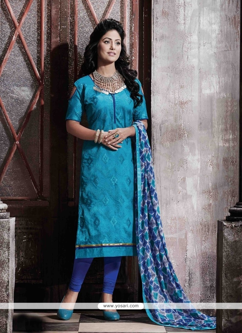 Conspicuous Chanderi Blue Print Work Designer Straight Salwar Suit