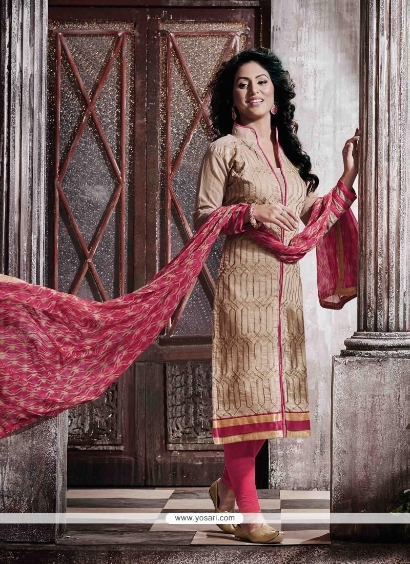 Exuberant Beige Designer Straight Salwar Kameez