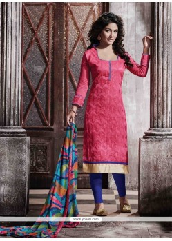 Preferable Lace Work Hot Pink Designer Straight Salwar Suit