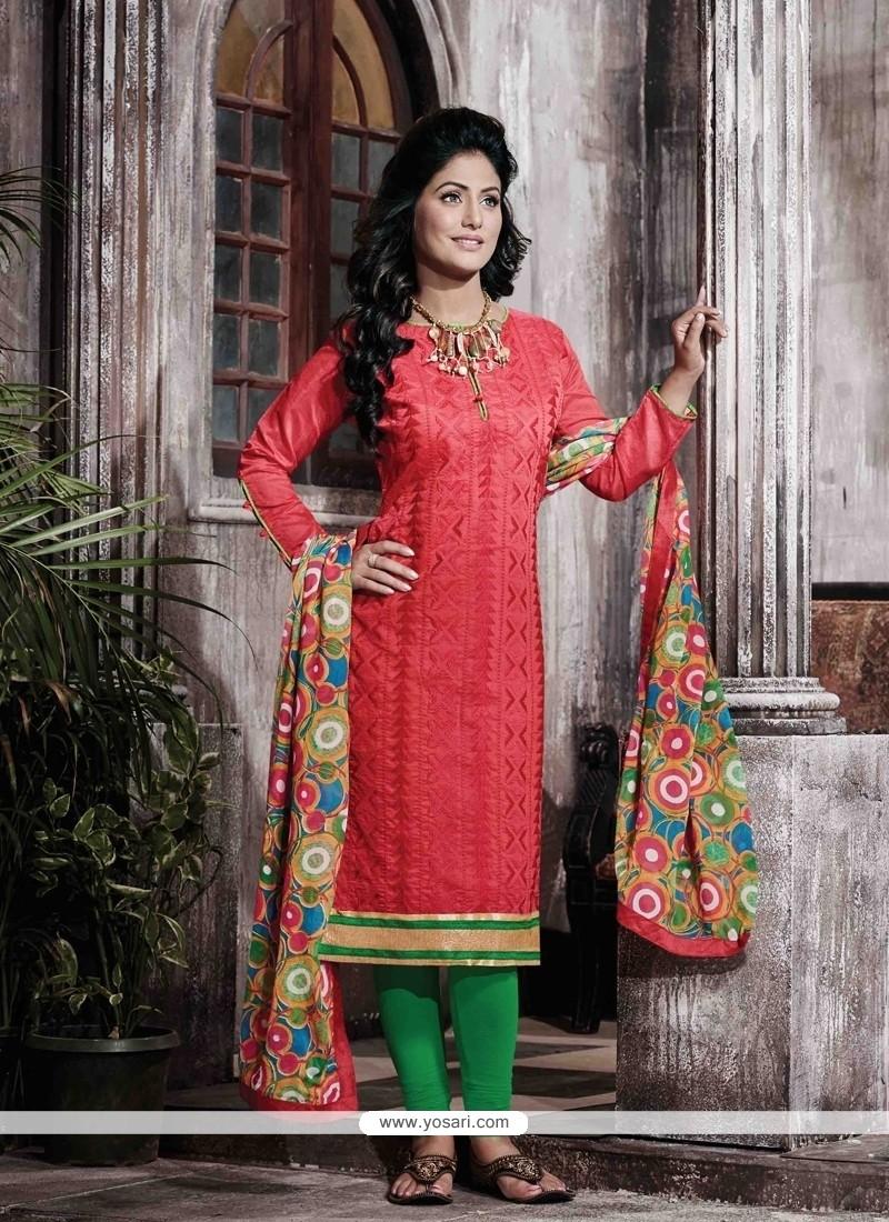 Winsome Chanderi Hot Pink Designer Straight Salwar Kameez