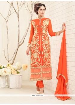 Superlative Orange Designer Straight Salwar Kameez