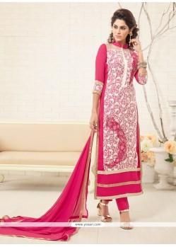 Angelic Embroidered Work Georgette Designer Straight Salwar Suit