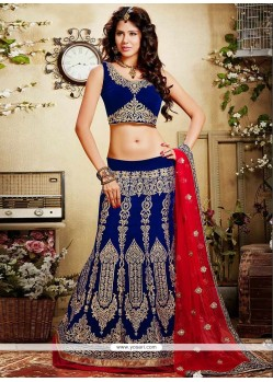 Jazz Blue Embroidered Velvet A-Line Lehenga Choli
