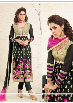 Enthralling Lace Work Georgette Black Designer Straight Salwar Kameez