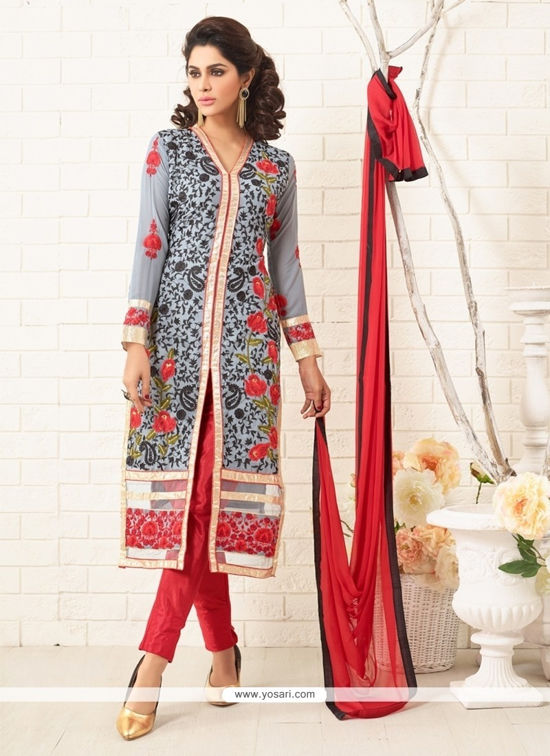 Graceful Georgette Grey Designer Straight Salwar Kameez