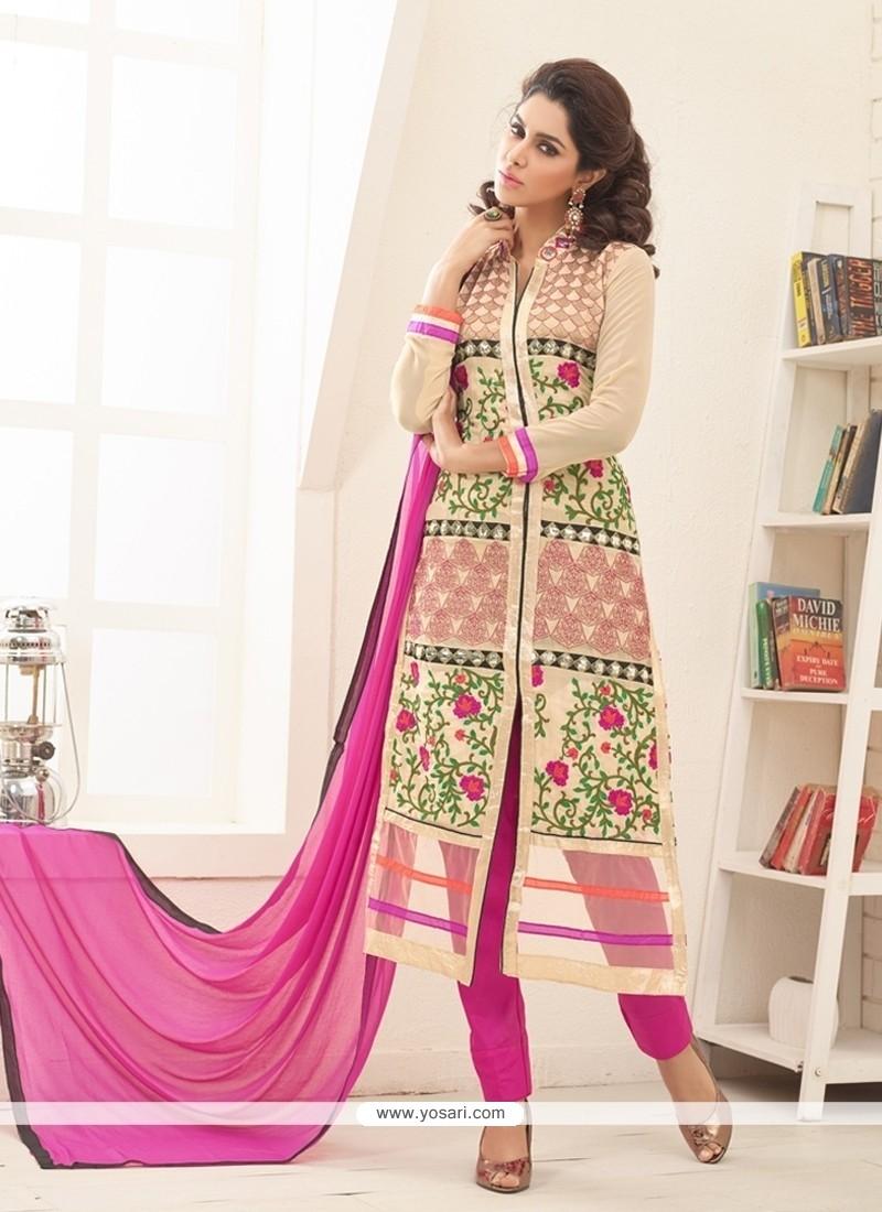 Gilded Cream Designer Straight Salwar Suit