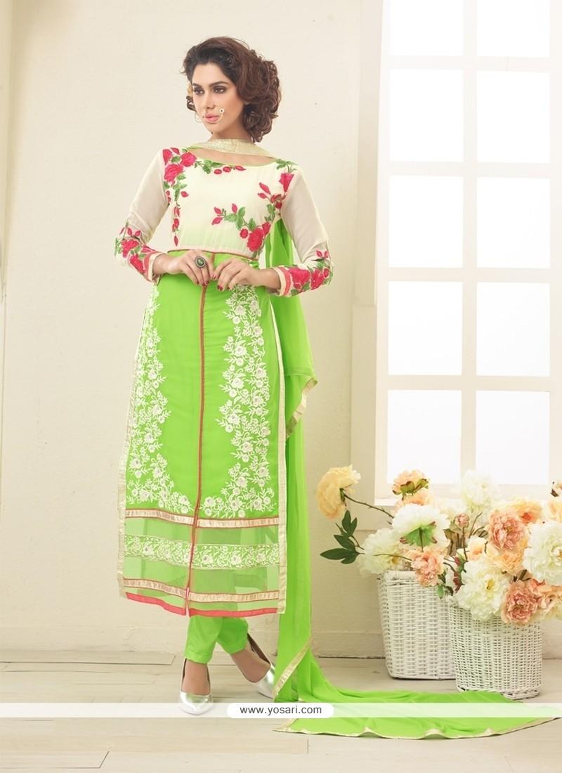 Bewitching Lace Work Georgette Designer Straight Salwar Kameez