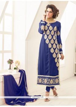 Mystic Blue Georgette Designer Straight Salwar Kameez