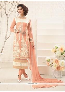 Precious Resham Work Peach Georgette Designer Straight Salwar Kameez
