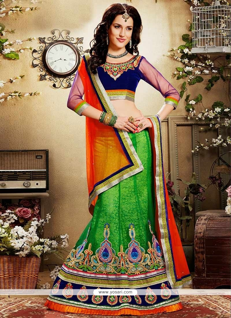 Amazing Green Jacquard And Net Lehenga Choli