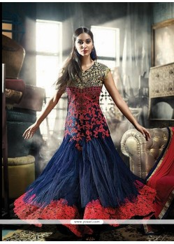 Superb Embroidered Work Blue Net Anarkali Salwar Suit