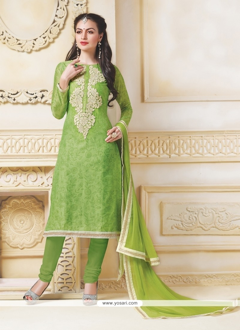 Outstanding Green Embroidered Work Chanderi Churidar Salwar Kameez