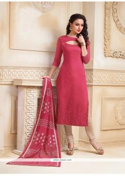 Hot Pink Chanderi Churidar Salwar Kameez