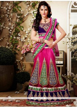 Hot Pink Appliques And Net Lehenga Choli