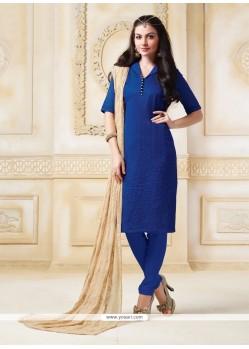 Gleaming Blue Print Work Banarasi Silk Churidar Salwar Kameez