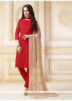 Energetic Red Churidar Salwar Suit
