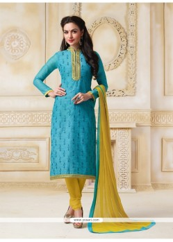 Wonderous Lace Work Banarasi Silk Turquoise Churidar Salwar Suit