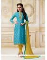 Wonderous Lace Work Banarasi Silk Turquoise Churidar Salwar Suit