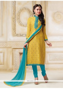 Girlish Lace Work Chanderi Yellow Churidar Salwar Kameez