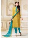 Girlish Lace Work Chanderi Yellow Churidar Salwar Kameez