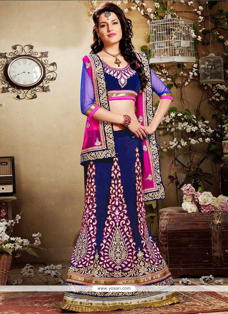Royal Blue Embroidered Viscose Lehenga Choli