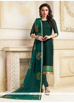 Absorbing Lace Work Chanderi Churidar Salwar Suit