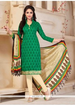 Fashionable Green Print Work Banglori Silk Churidar Salwar Suit