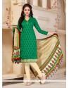 Fashionable Green Print Work Banglori Silk Churidar Salwar Suit