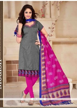 Best Banglori Silk Grey Print Work Churidar Salwar Suit