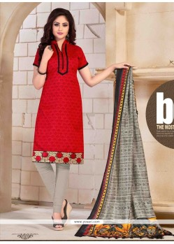 Renowned Red Print Work Banglori Silk Churidar Salwar Kameez