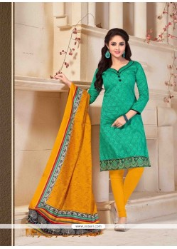 Magnetic Green Print Work Churidar Salwar Suit