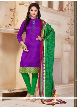 Hypnotizing Print Work Purple Banglori Silk Churidar Salwar Kameez